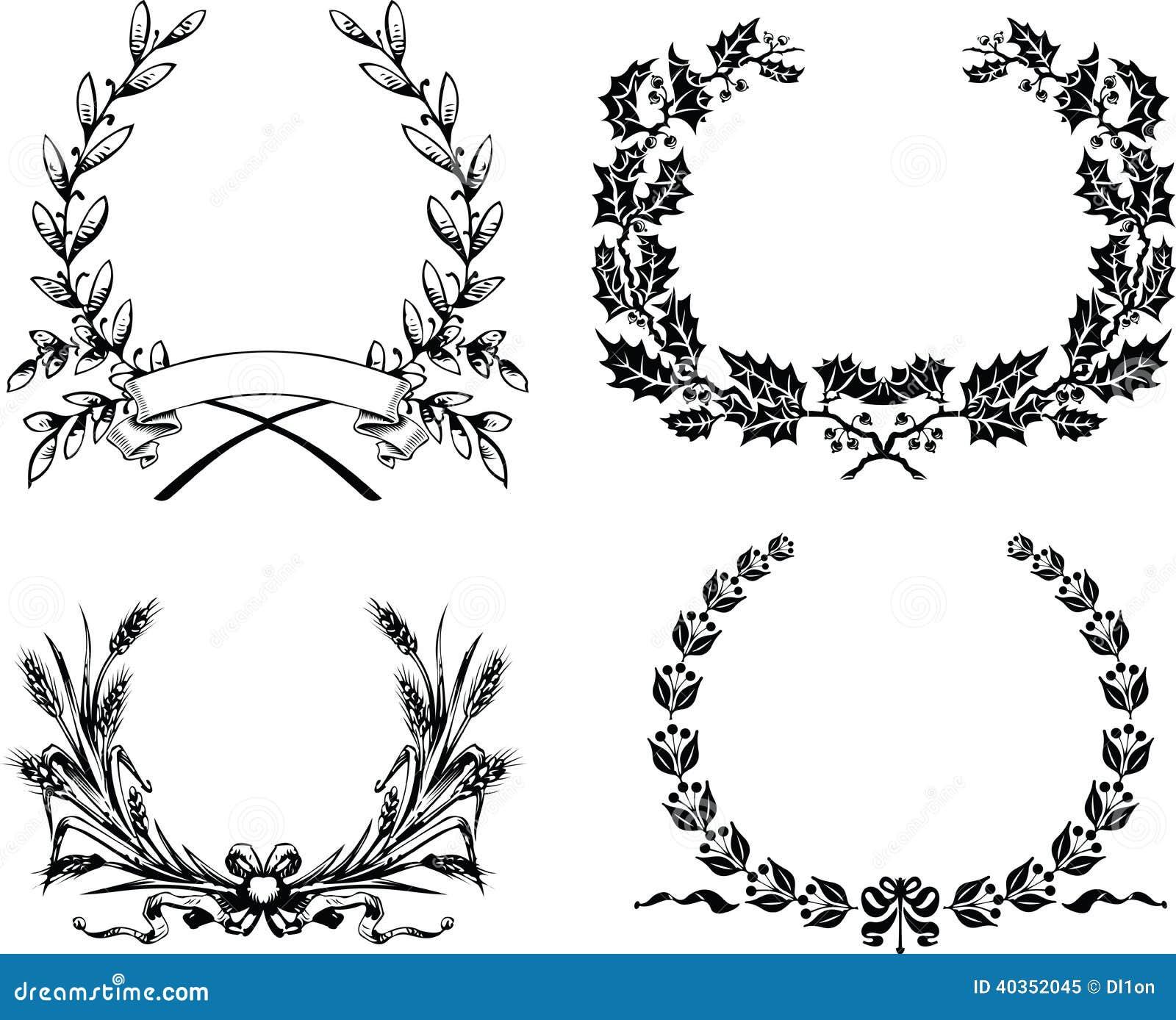 4 один венок цвета первоначально Heraldic