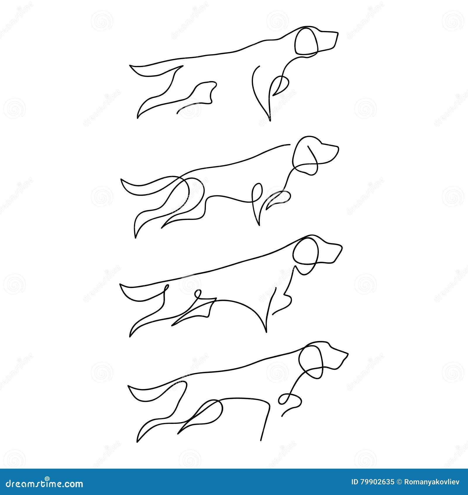 Single Line Unicode Art : Одна линия силуэт дизайна собаки гончая Нарисованная рукой