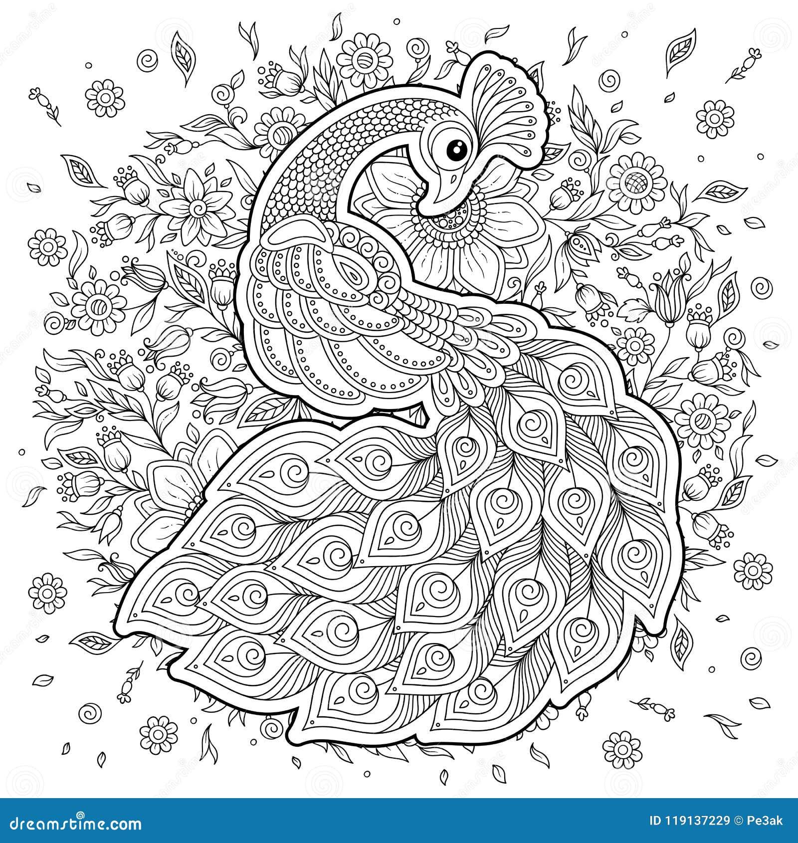 павлин в стиле Zentangle взрослая Antistress страница
