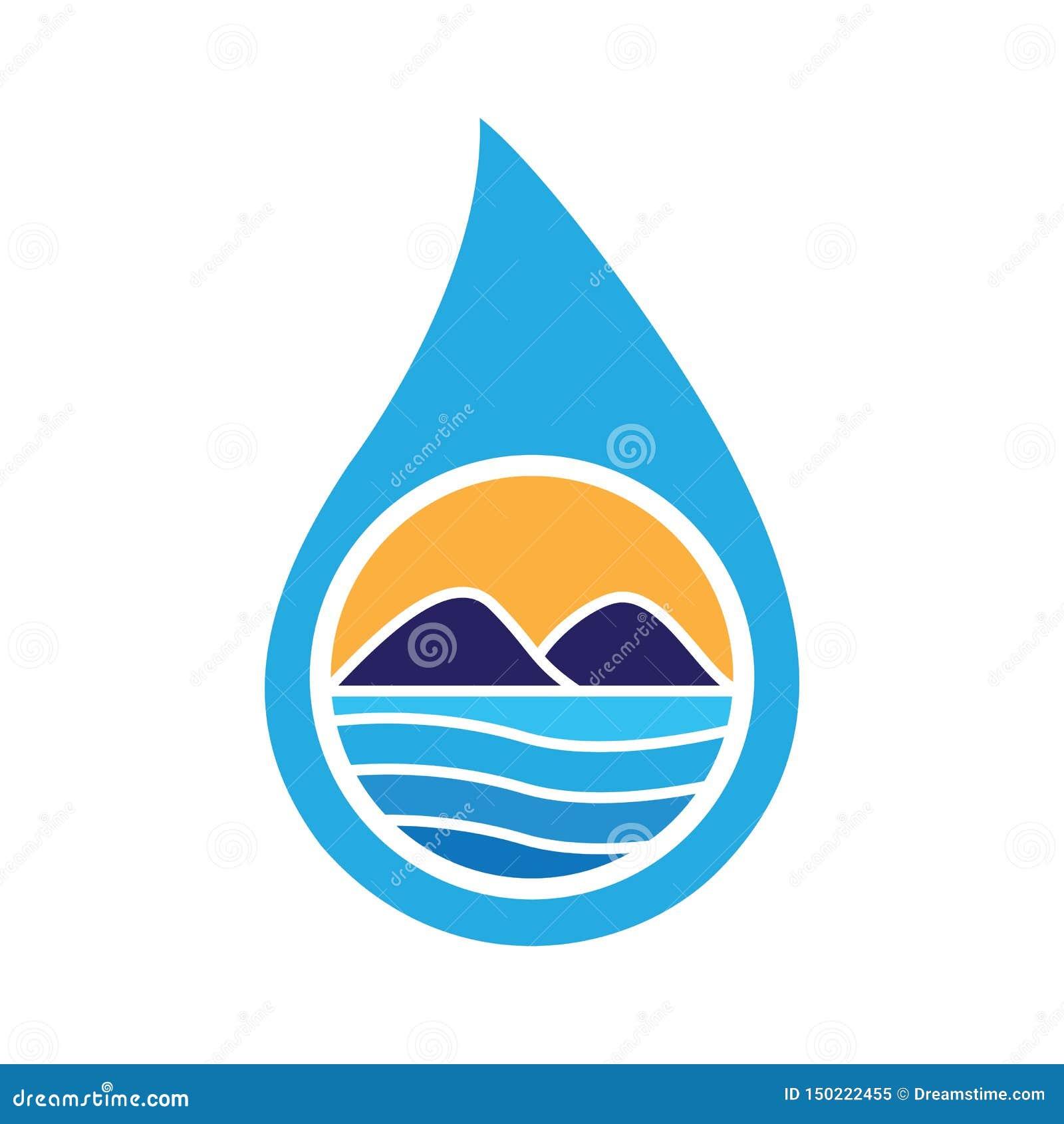 Падение воды благоустраивая вектор логотипа