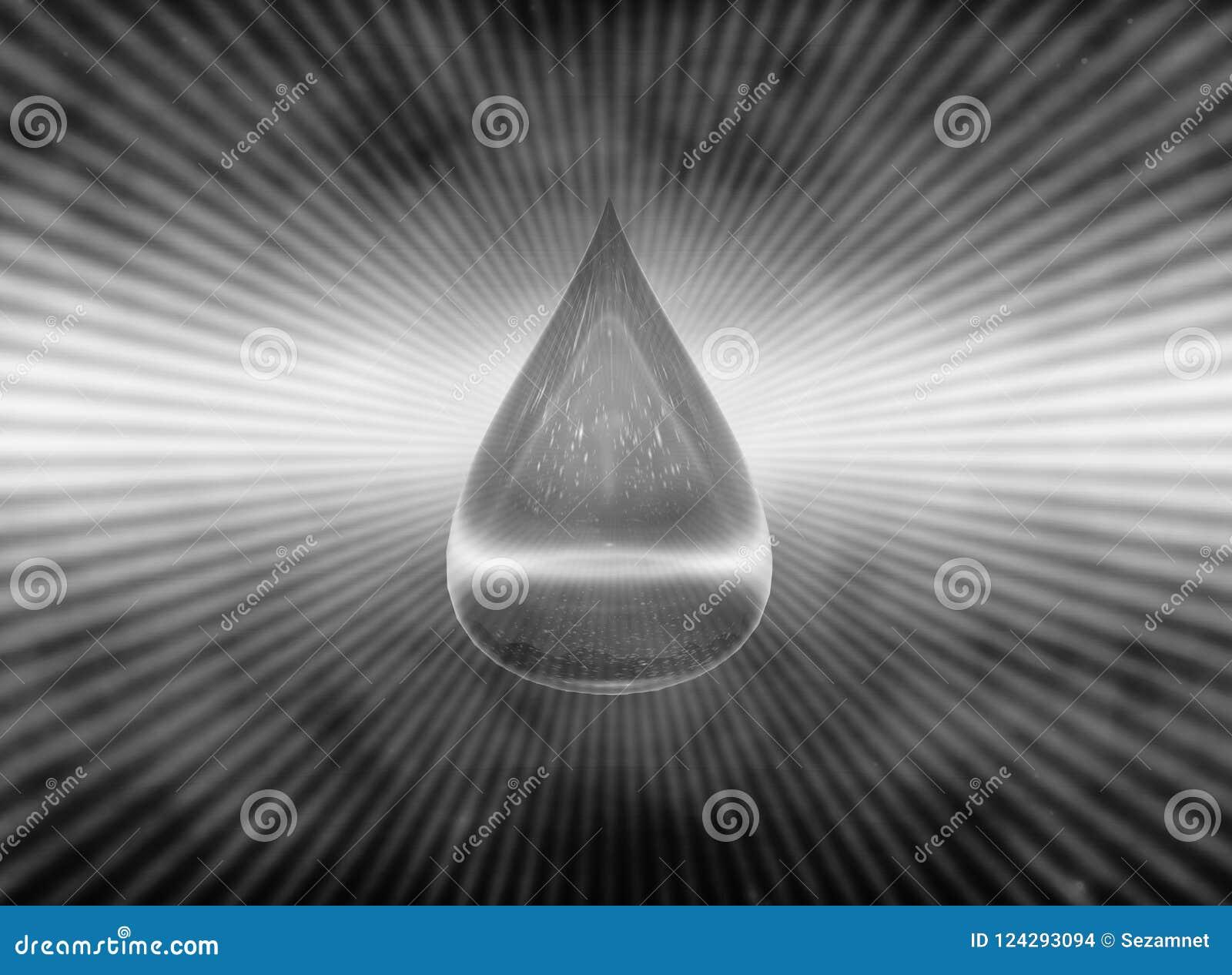 падение воды символа H2O воды пакостной иллюстрация 3d