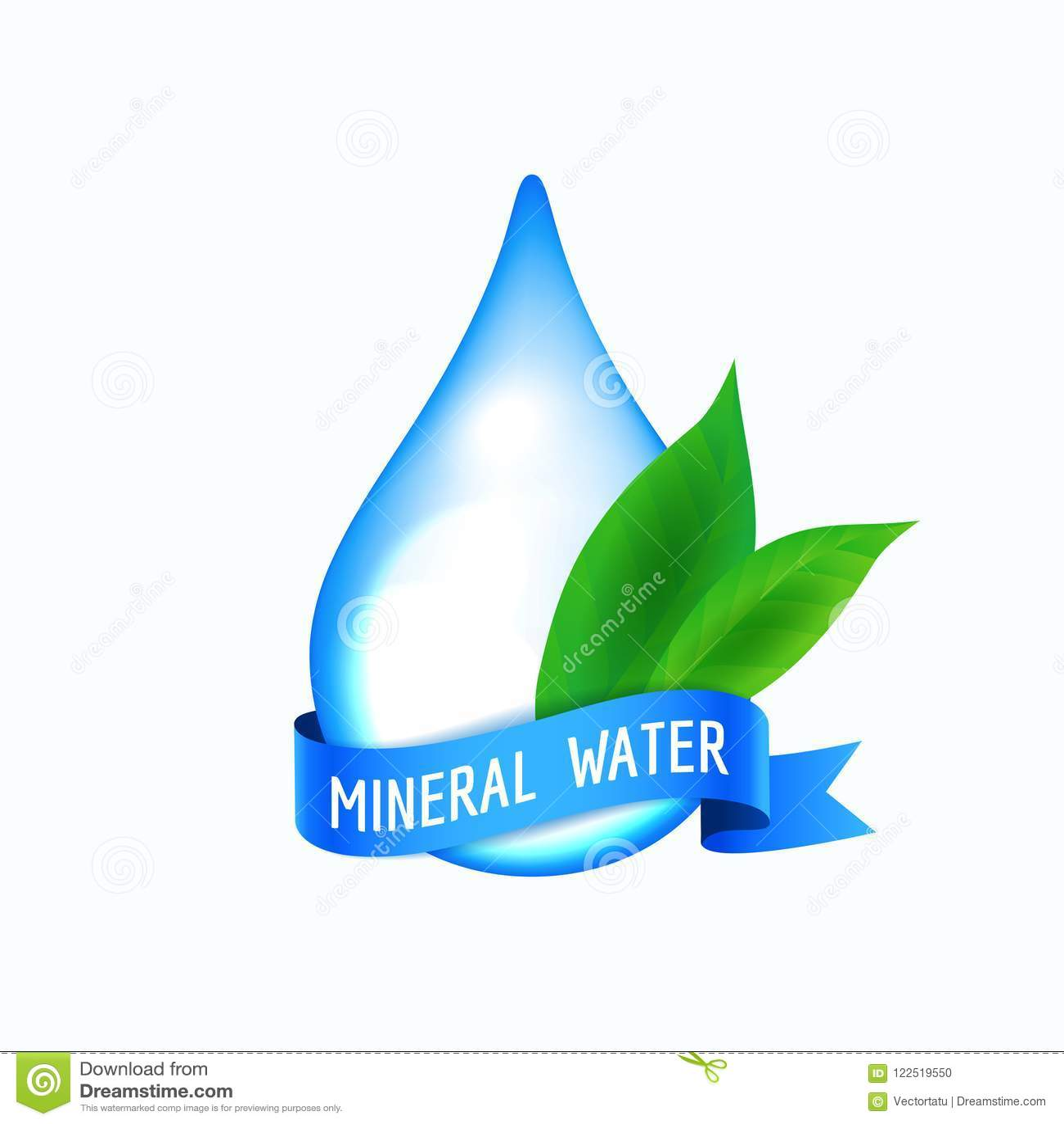 Падение воды с голубой лентой