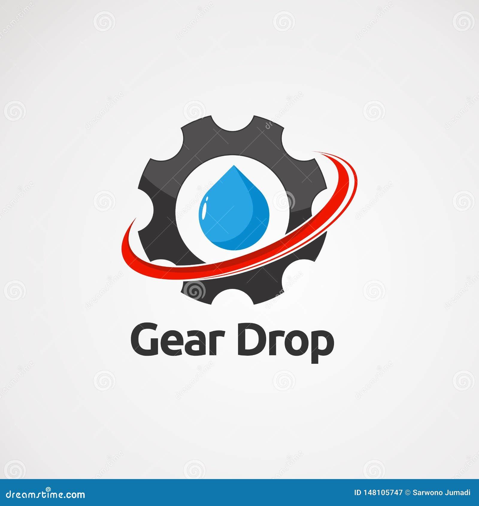 Падение шестерни с красными вектором, значком, элементом, и шаблоном логотипа swoosh для компании