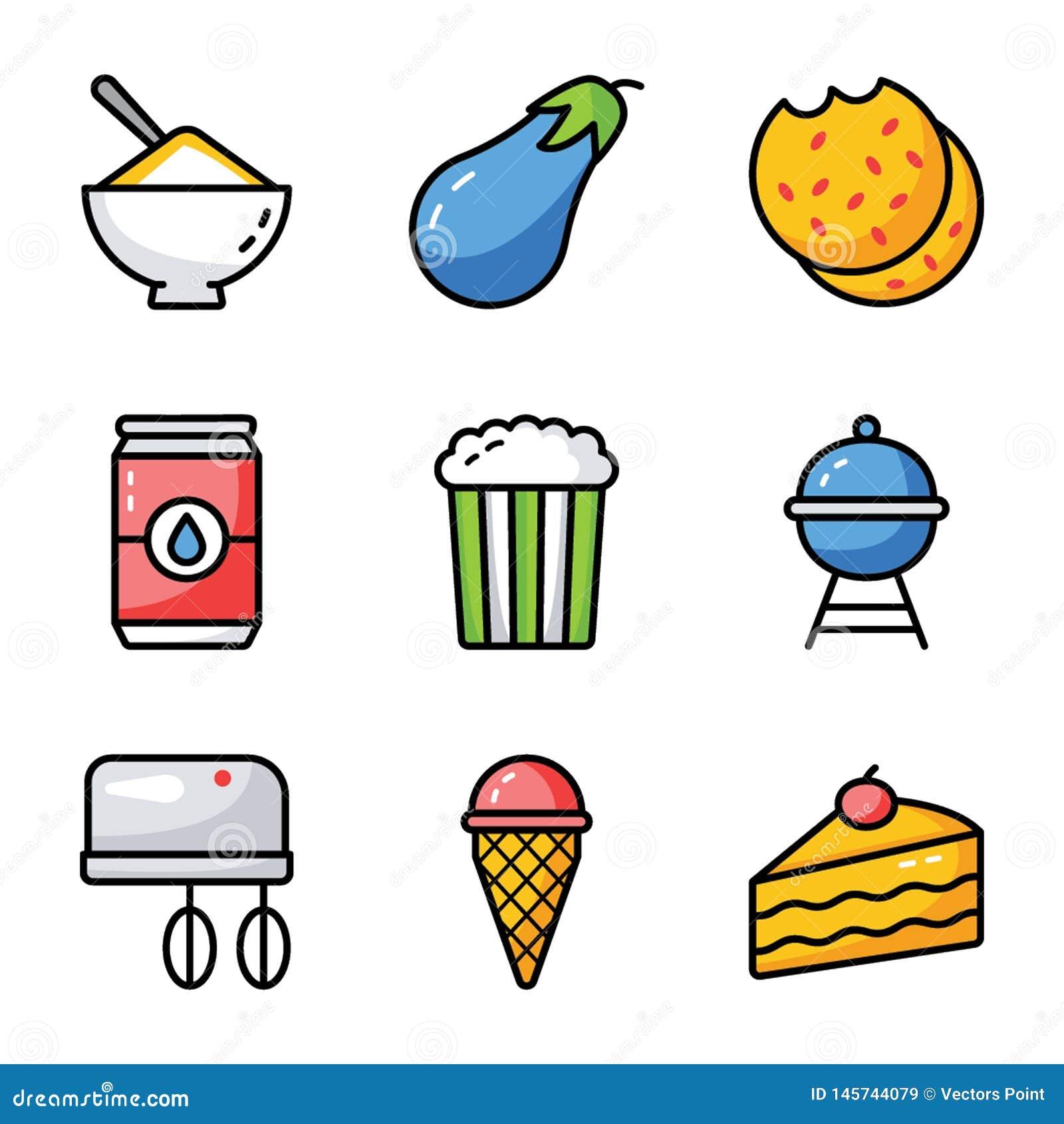 Пакет значка продуктов питания плоский