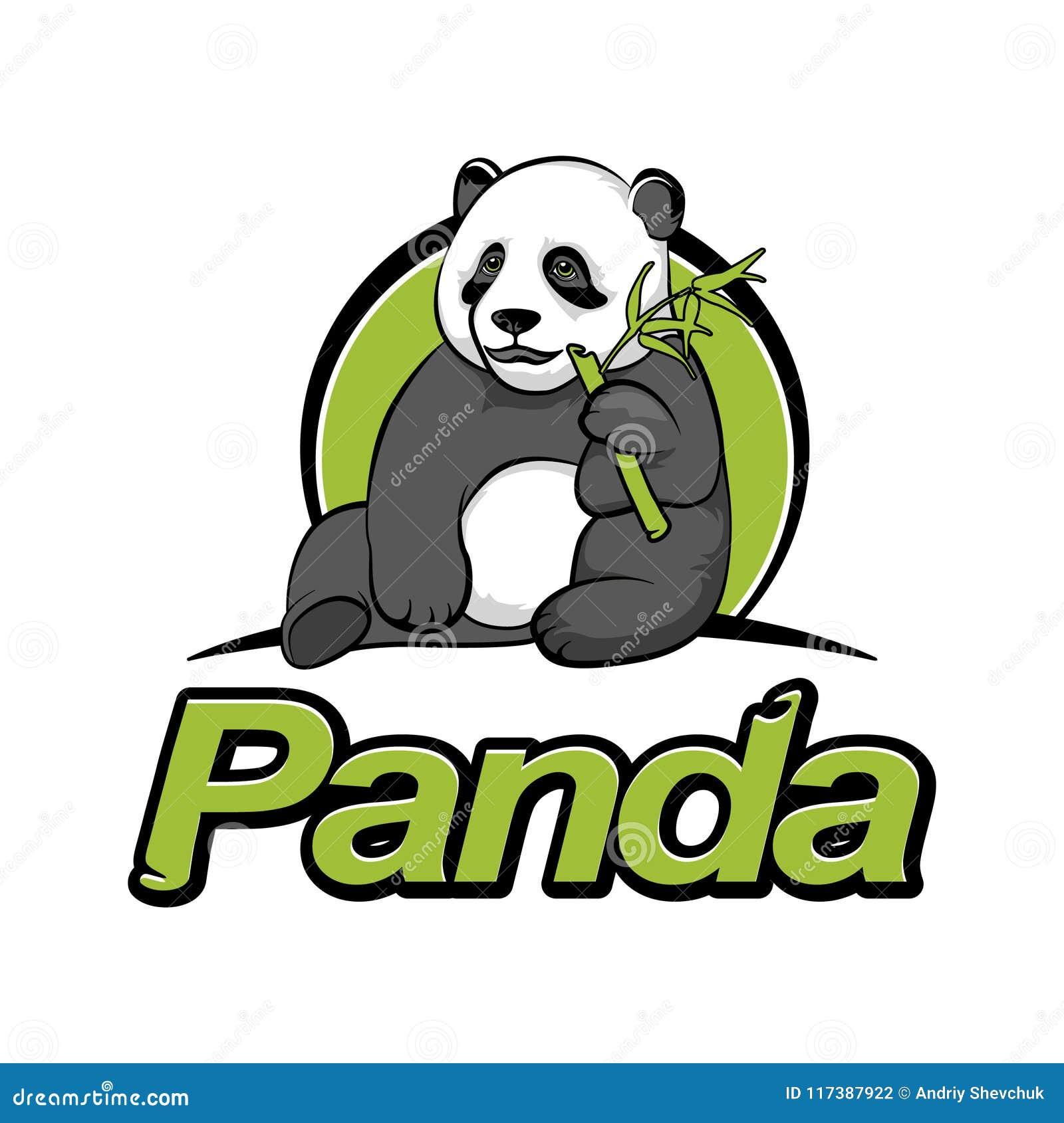 Панда сидит и ест бамбук