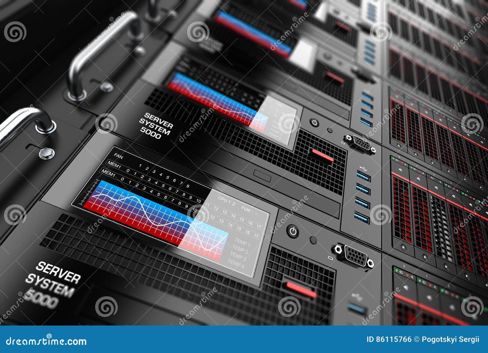 Панели шкафа сервера в центре данных