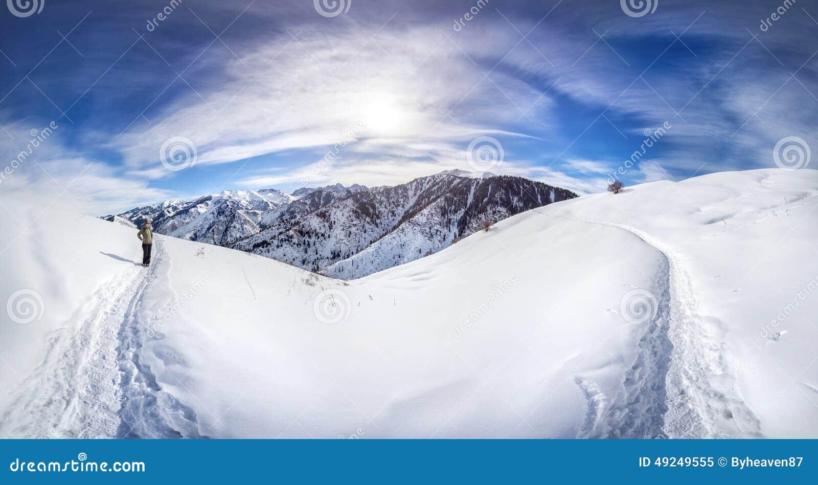Панорама гор зимы