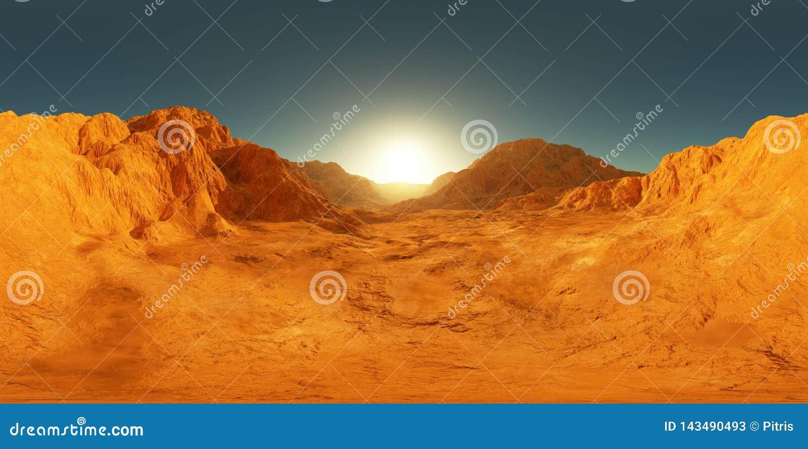 панорама 360 градусов захода солнца Марса, карты окружающей среды HDRI Проекция Equirectangular, сферически панорама Марсианский