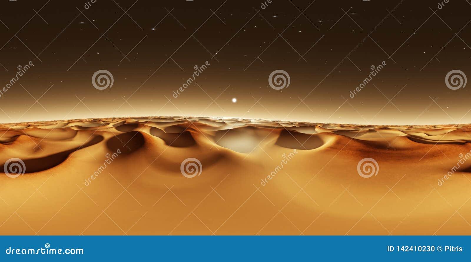 панорама 360 градусов захода солнца на Марсе, песчанных дюнах Марса, карте окружающей среды 360 HDRI Проекция Equirectangular, сф
