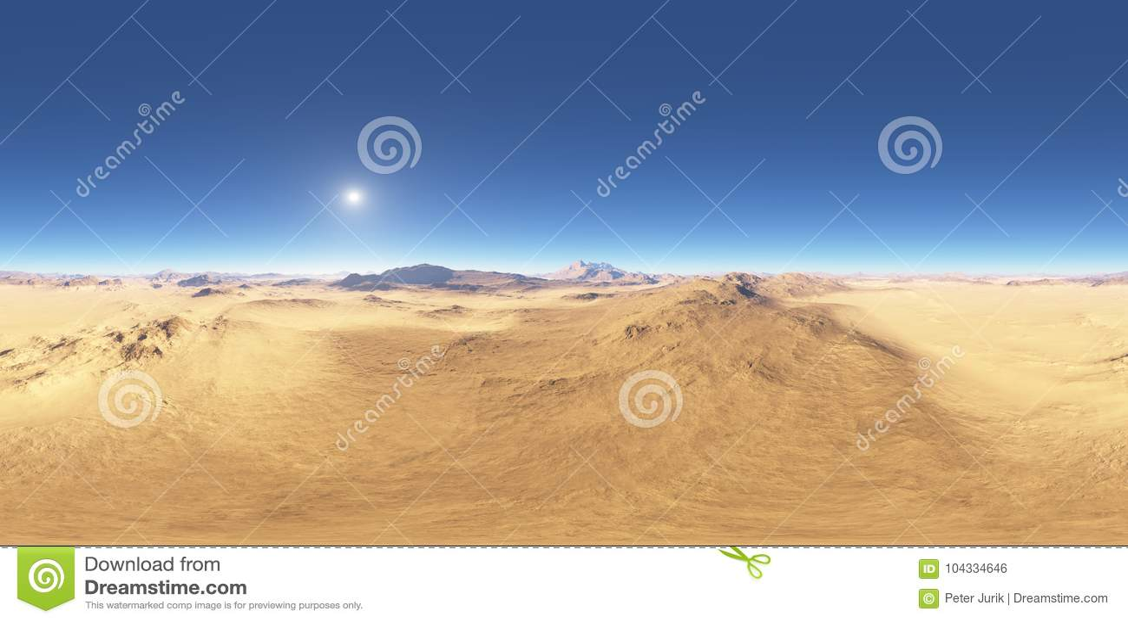 Панорама захода солнца ландшафта пустыни, карты окружающей среды HDRI Проекция Equirectangular, сферически панорама