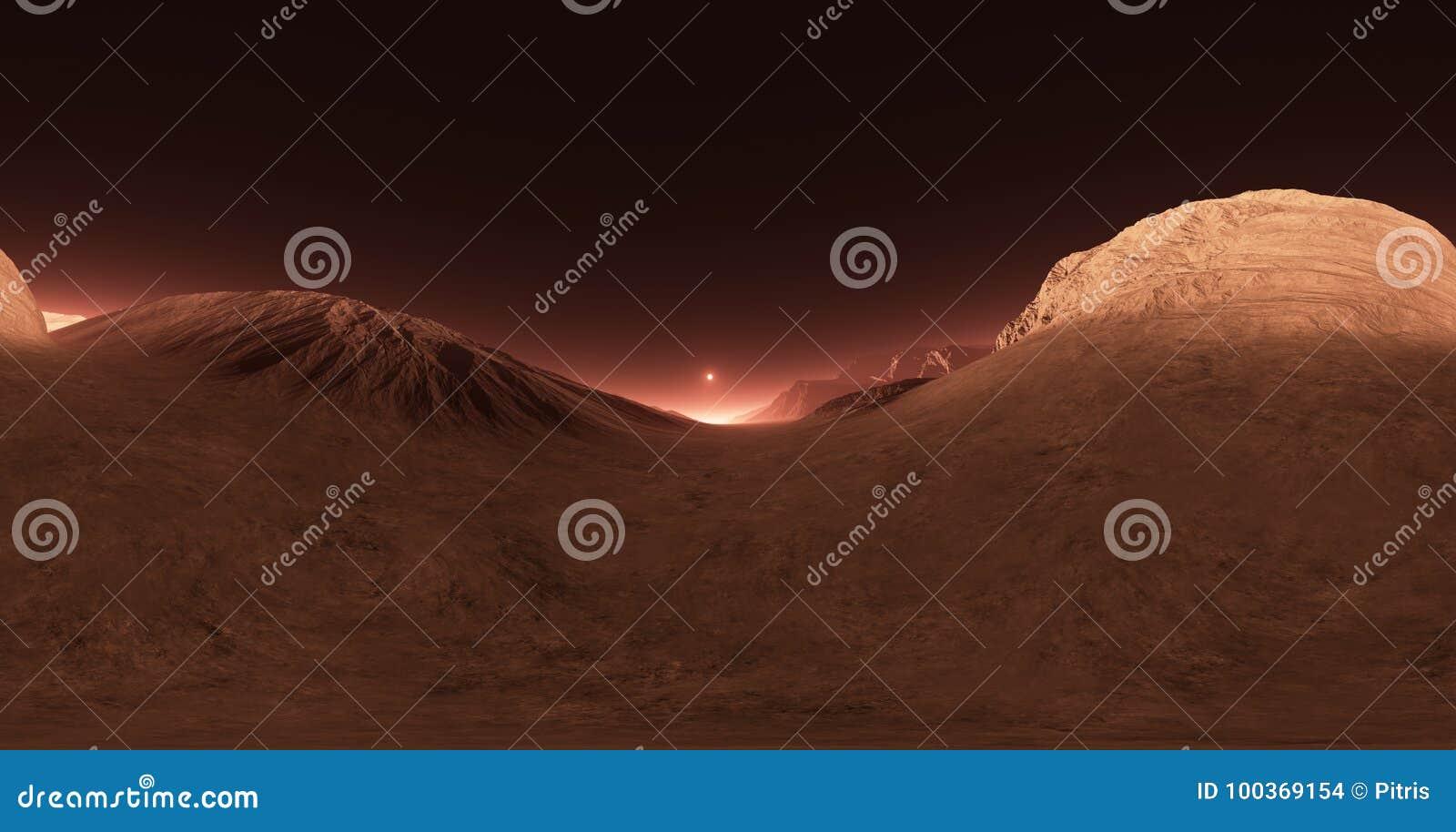 Панорама захода солнца Марса, карты окружающей среды HDRI Проекция Equirectangular, сферически панорама