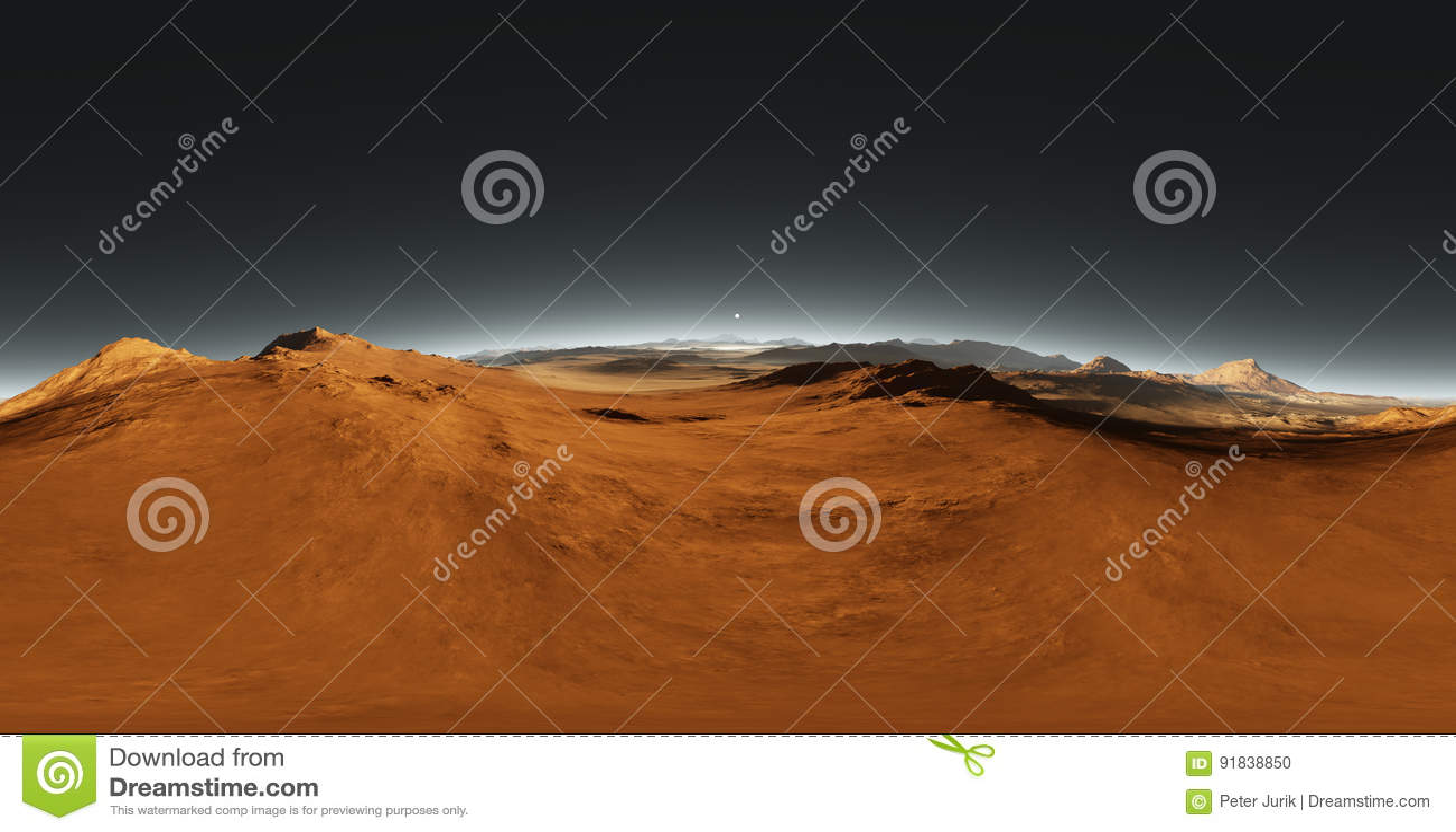 Панорама захода солнца Марса, карты окружающей среды HDRI Проекция Equirectangular, сферически панорама Марсианский ландшафт