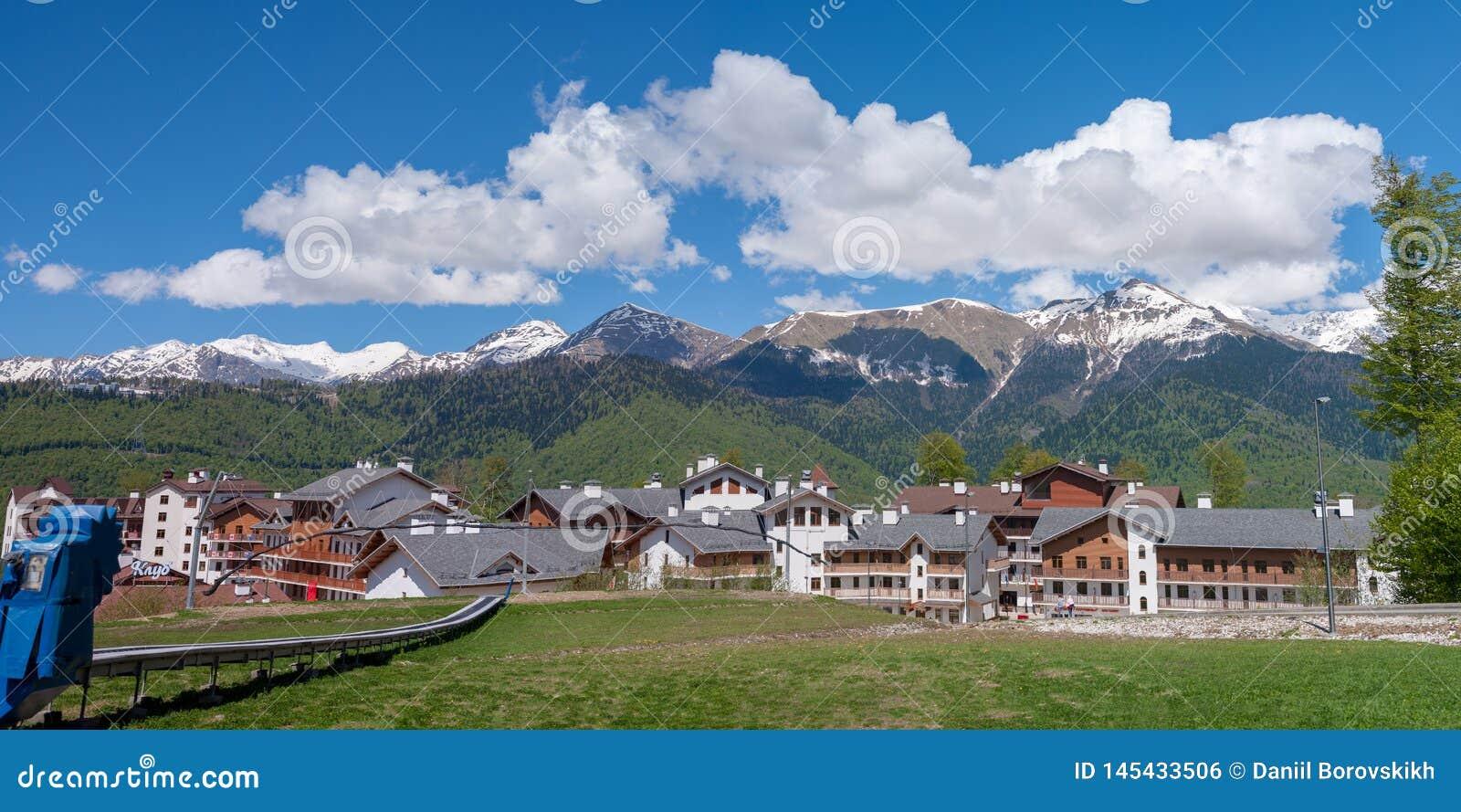 Панорама кавказских гор Krasnaya Polyana