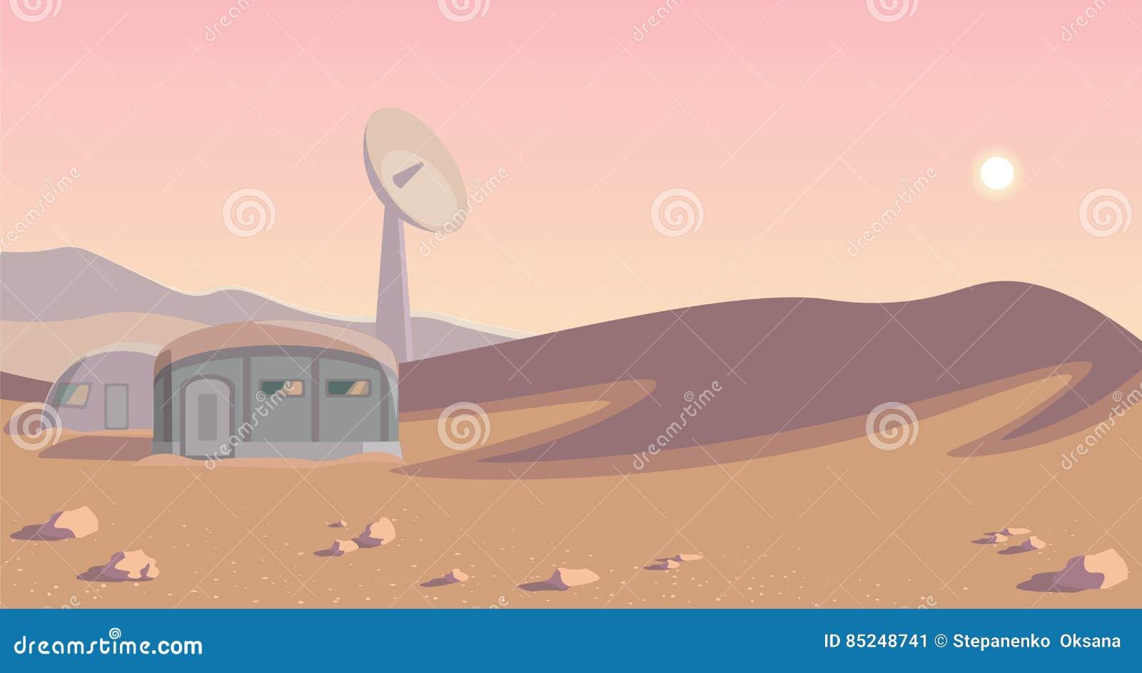 Панорама колонизации космоса Колония на другой планете Округленное lineart повреждает
