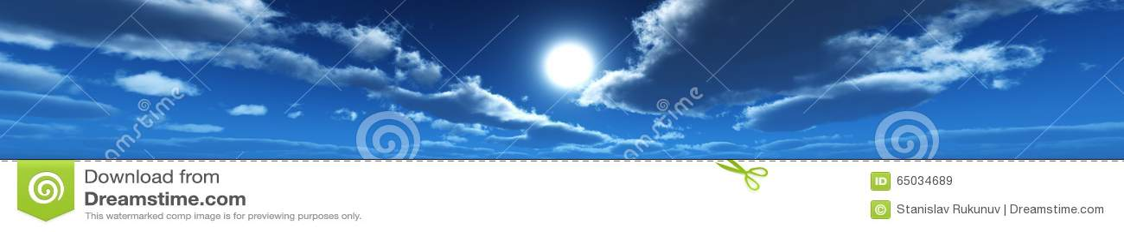 Панорама облаков, солнце среди облаков