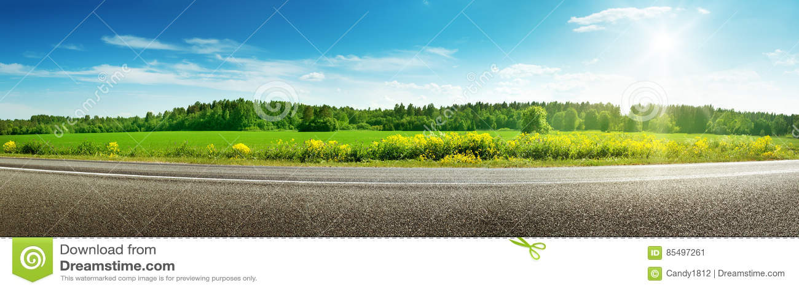 Панорама дороги на солнечный весенний день