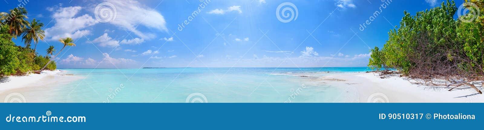 Панорама пляжа на острове Fulhadhoo Мальдивов с белыми песочными идилличными совершенными пляжем и ладонью моря и кривой