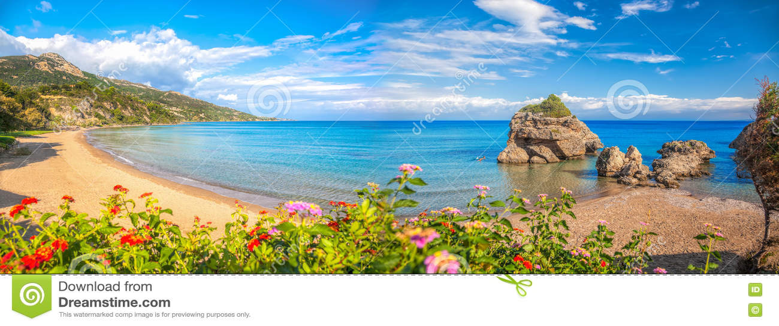 Панорама пляжа Порту Zorro против красочных цветков на острове Закинфа, Греции