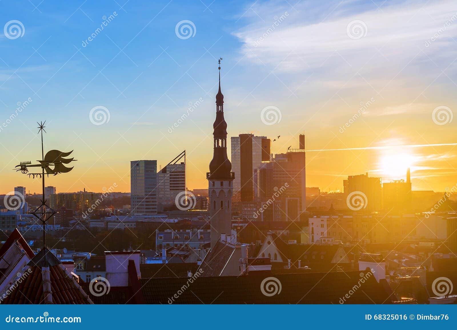 Панорама утра Таллина, Эстонии