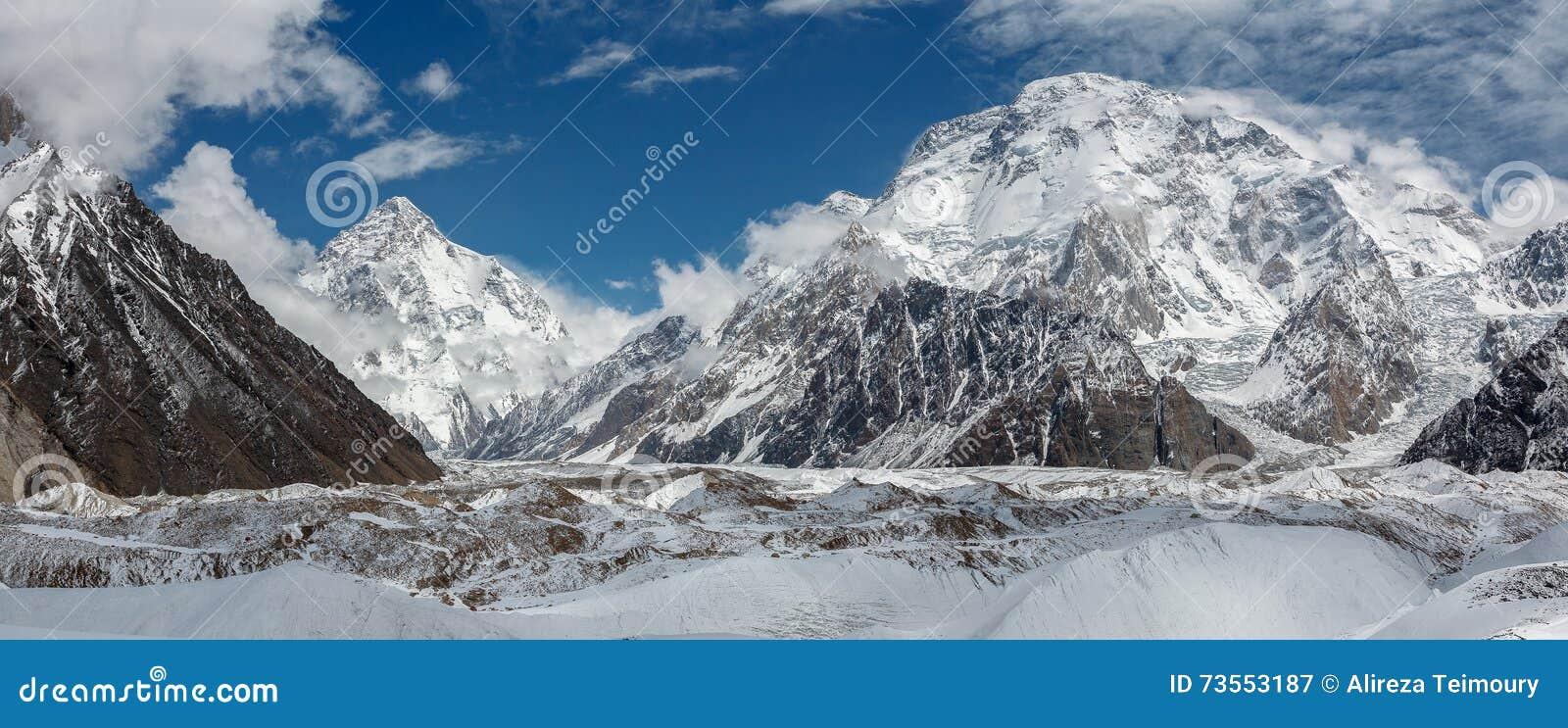 Панорама K2 и обширного пика от Concordia