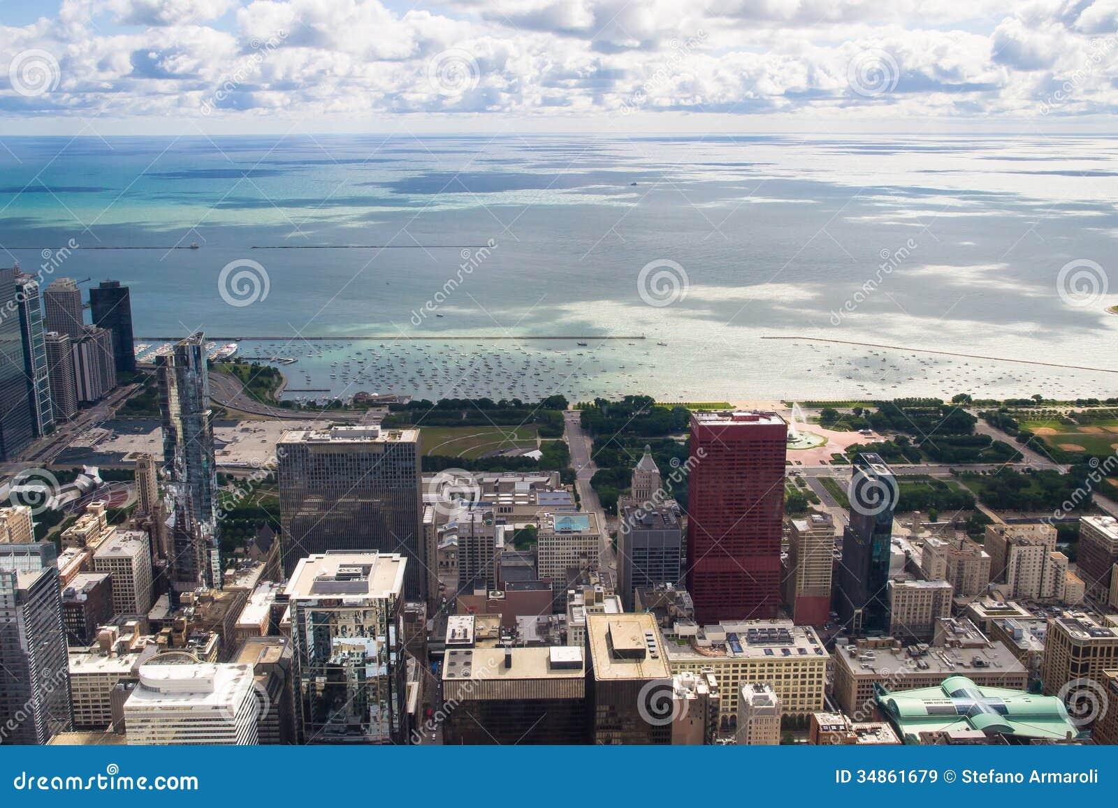 Панорама Lake Michigan от башни Чикаго