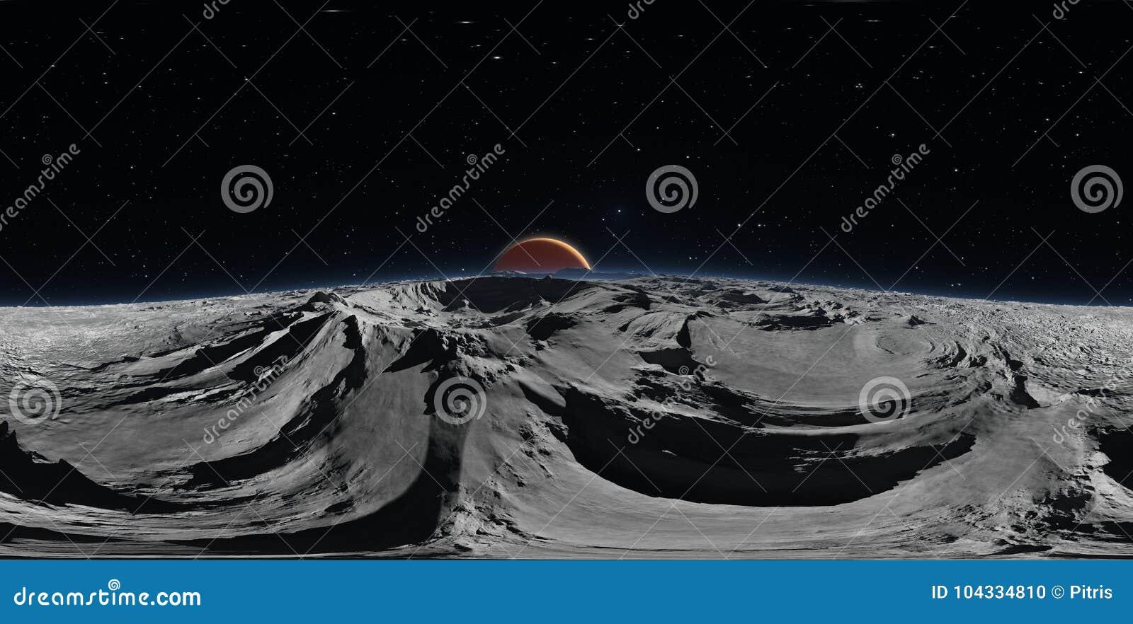 Панорама Phobos с красной планетой Марсом на заднем плане, карта окружающей среды HDRI Проекция Equirectangular