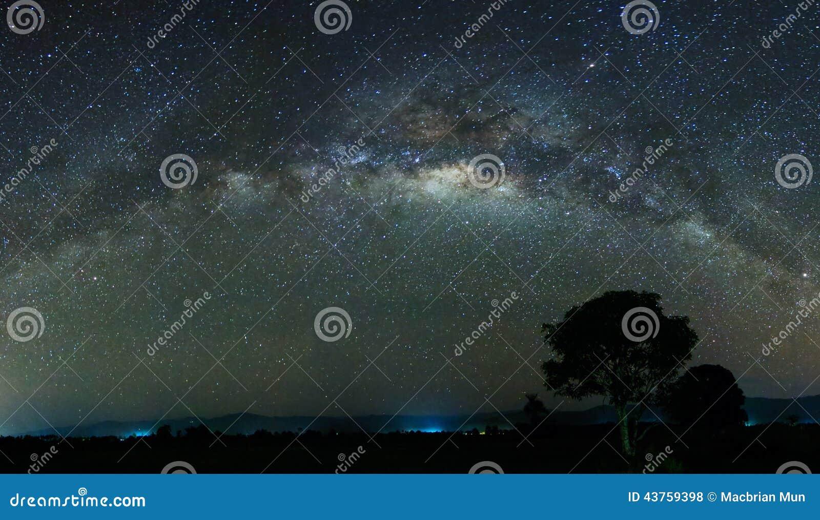 Панорамная съемка млечного пути на Сабахе, Малайзии, Борнео