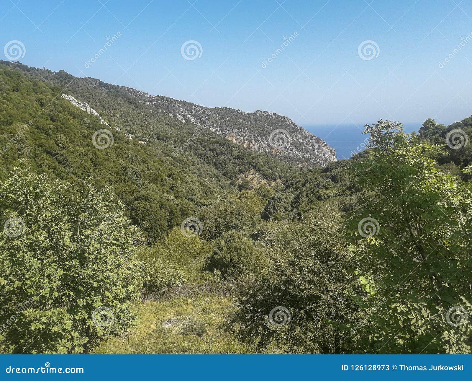 Панорамный взгляд на острове Skiathos, Греции