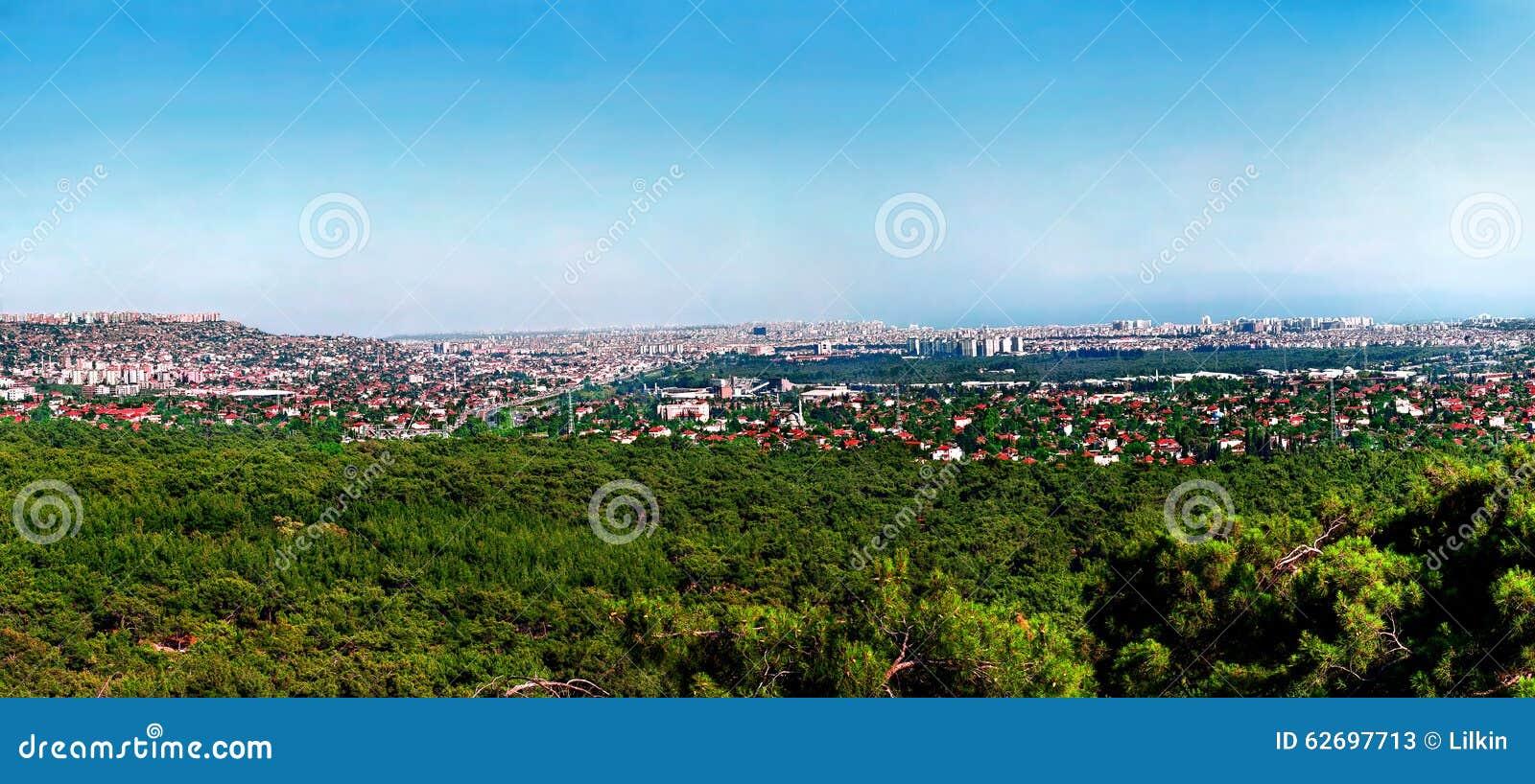 Панорамный взгляд Антальи, Турции