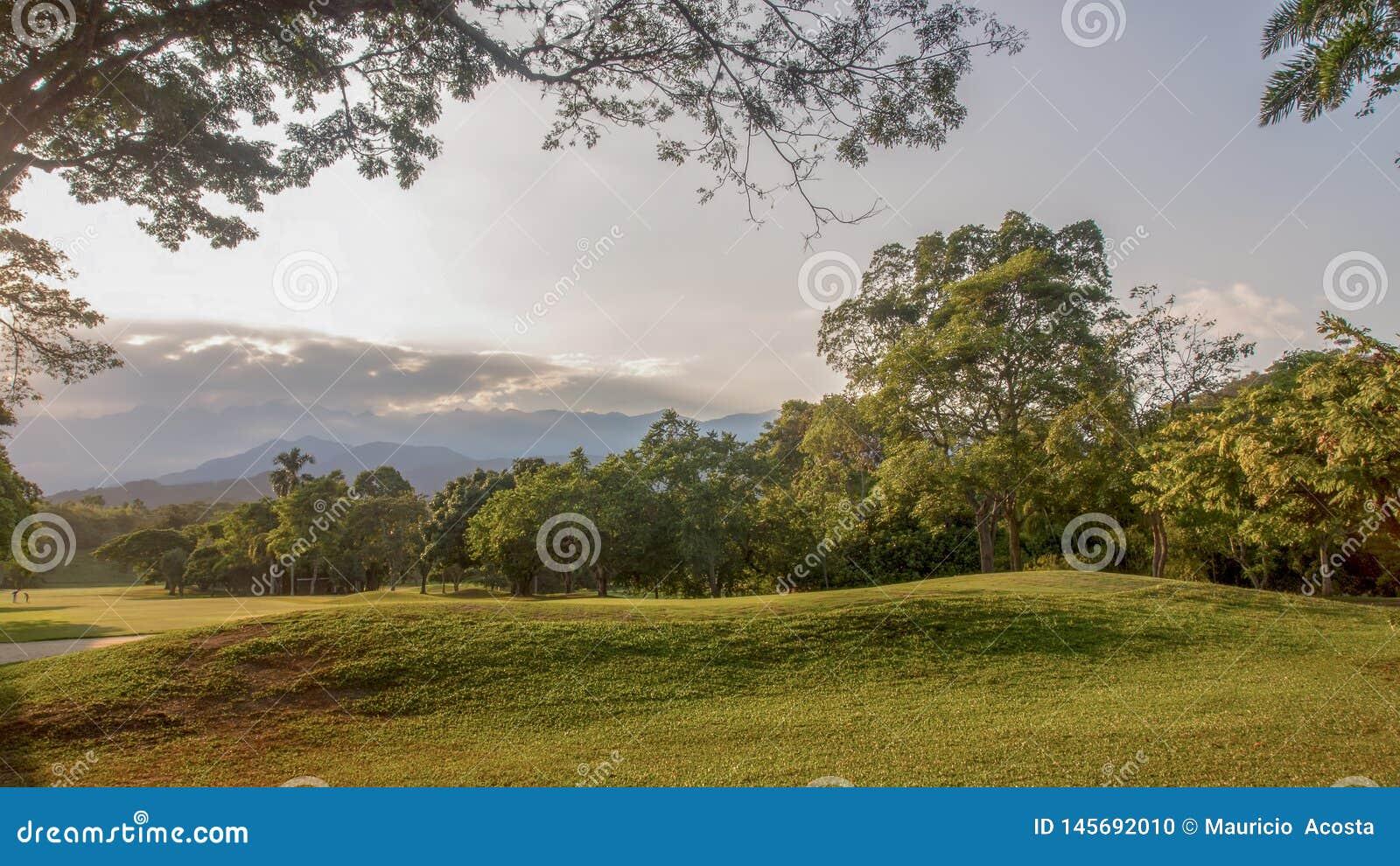 Панорамный вид одного отверстия в cours гольфа