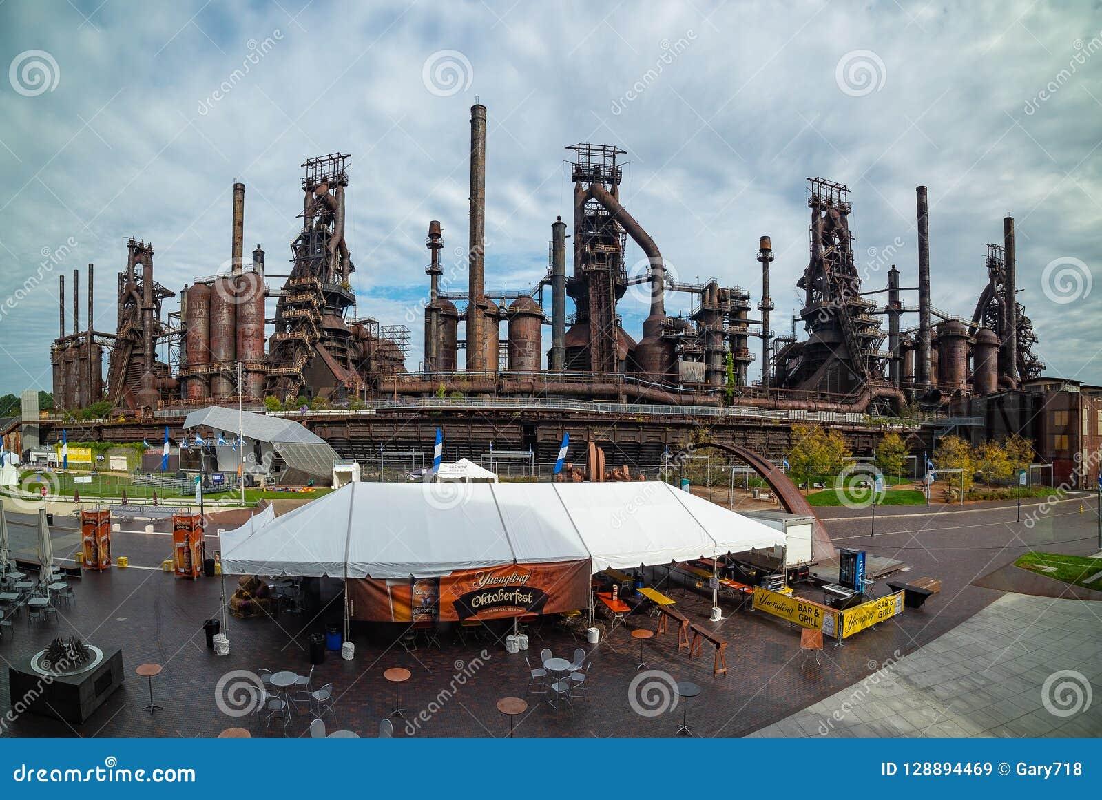 Панорамный вид стальной фабрики все еще стоя в Вифлееме
