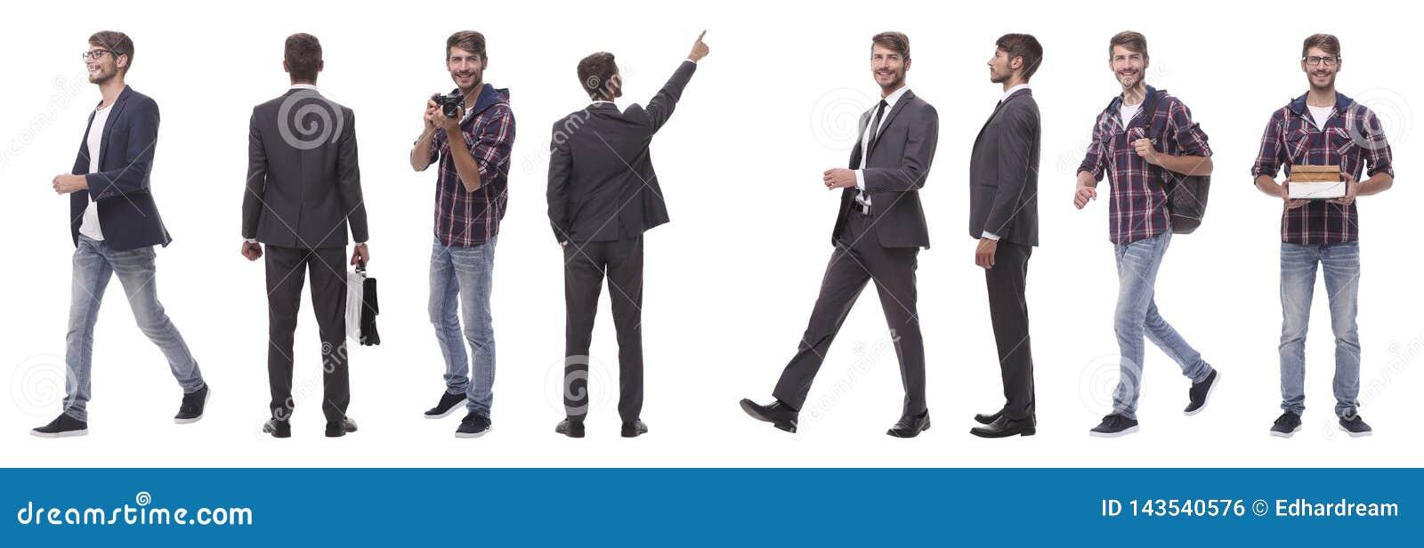 Панорамный коллаж само-мотивированного молодого человека r
