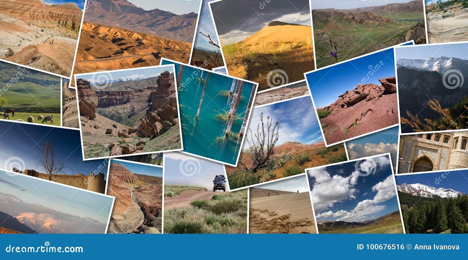 Panoramnyj Kollazh Foto Prirody Kazahstana Landshaft M Stokovoe Foto