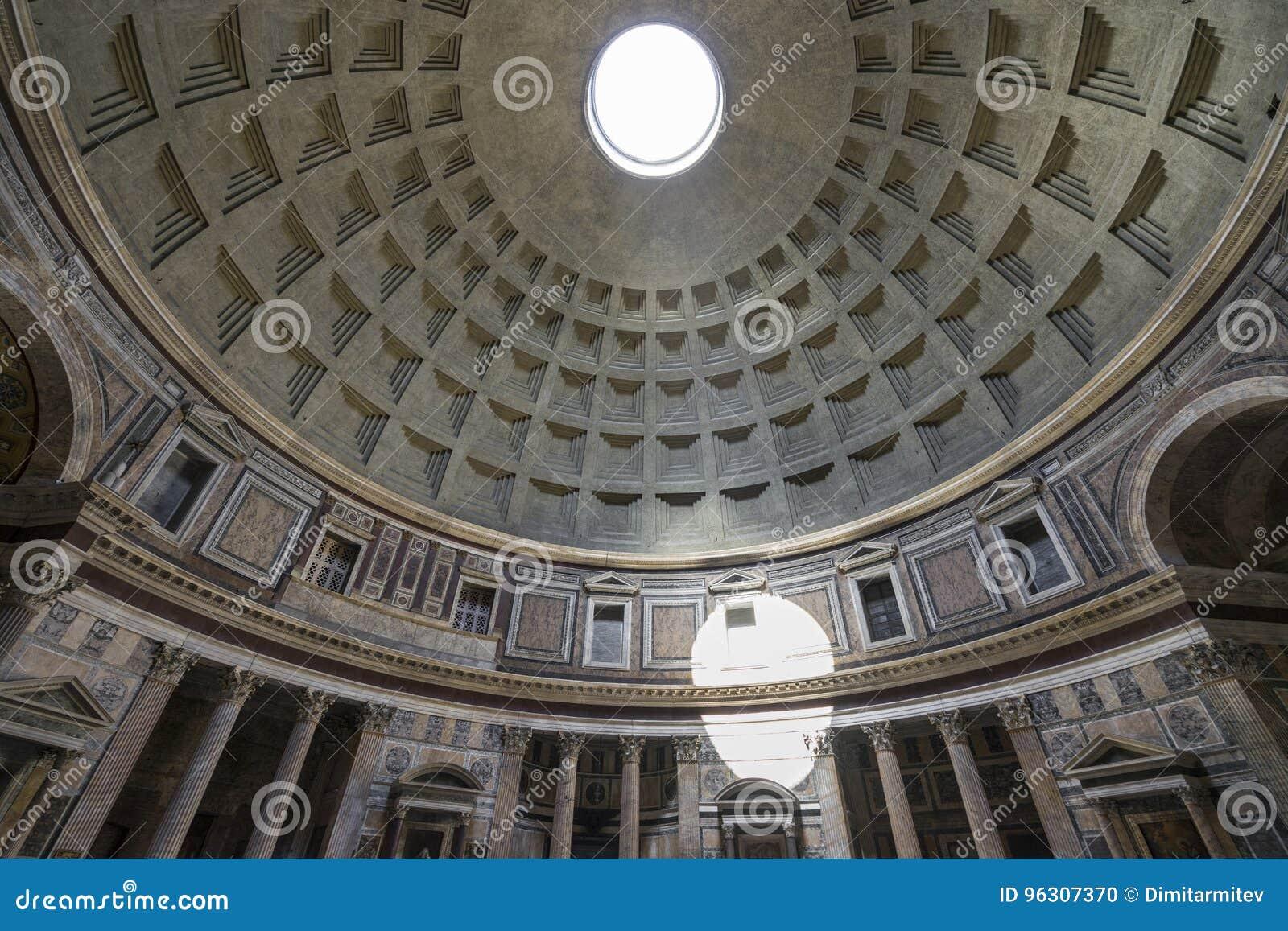 пантеон rome Италии купола Внутренний взгляд Рэй солнечного света проходя throu
