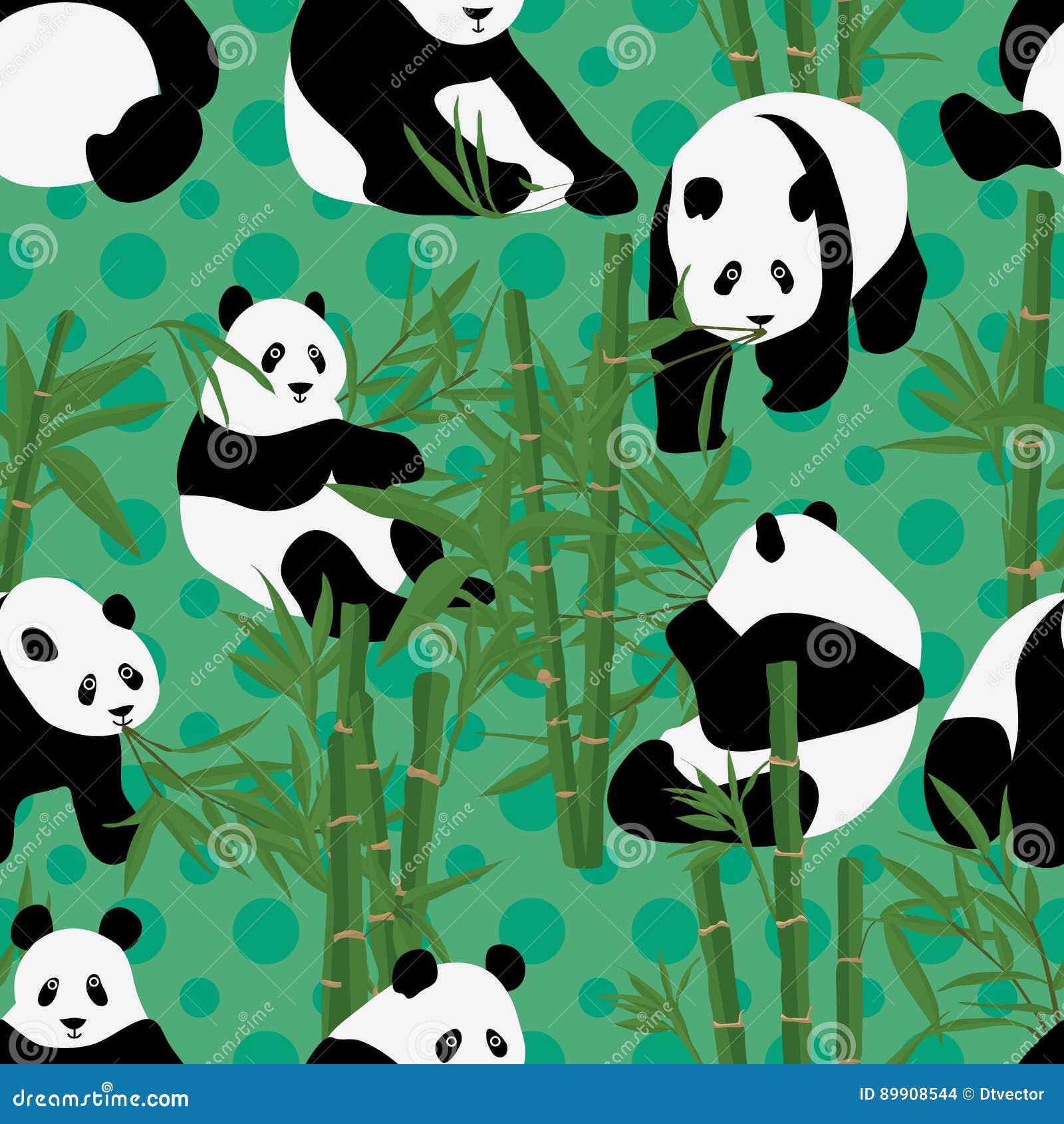 Панда ест бамбуковую безшовную картину