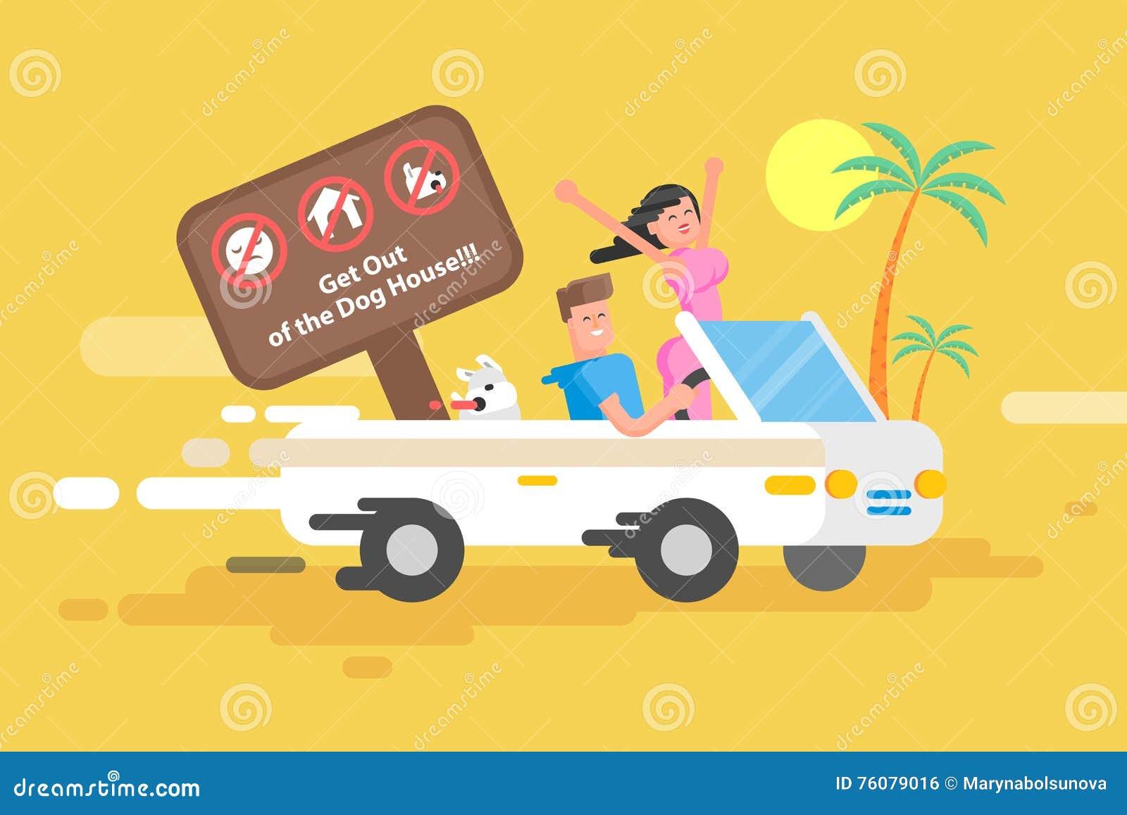 Парень иллюстрации счастливый управляет белым автомобилем с откидным верхом
