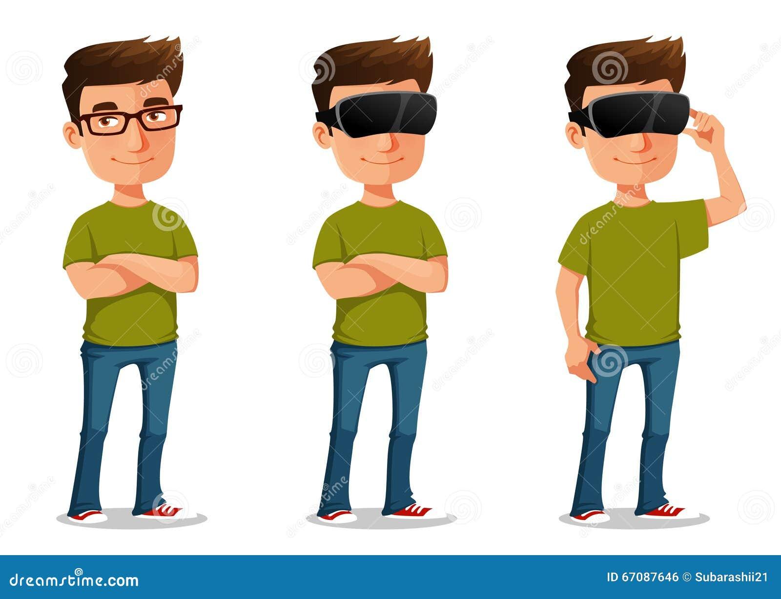 Парень шаржа используя стекла виртуальной реальности