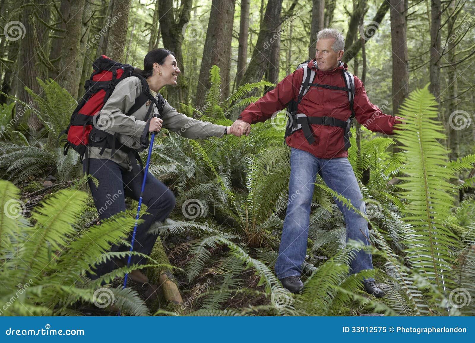 Пары держа руки и идя в лес