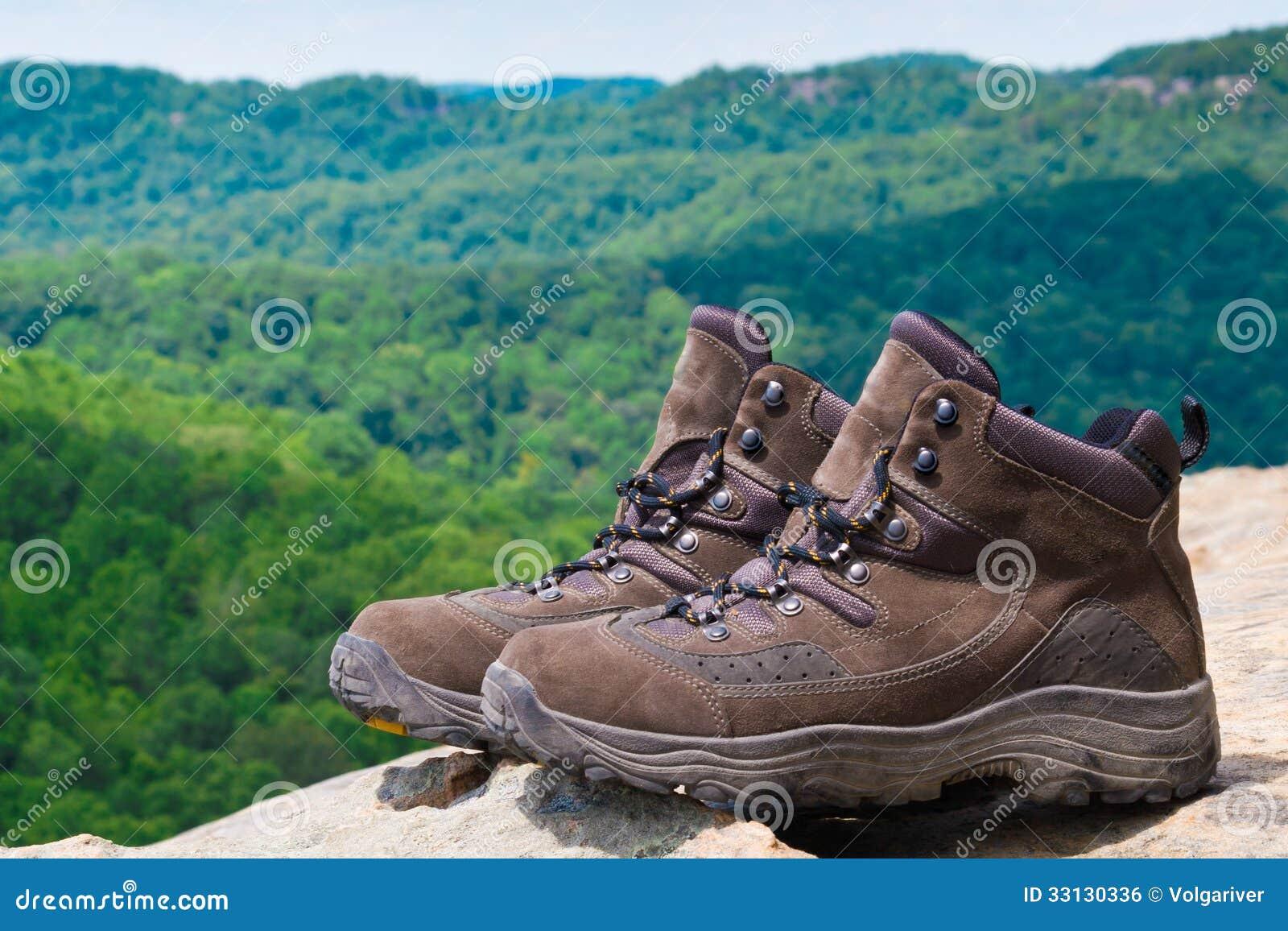 Пары пеших ботинок перед лесом горы