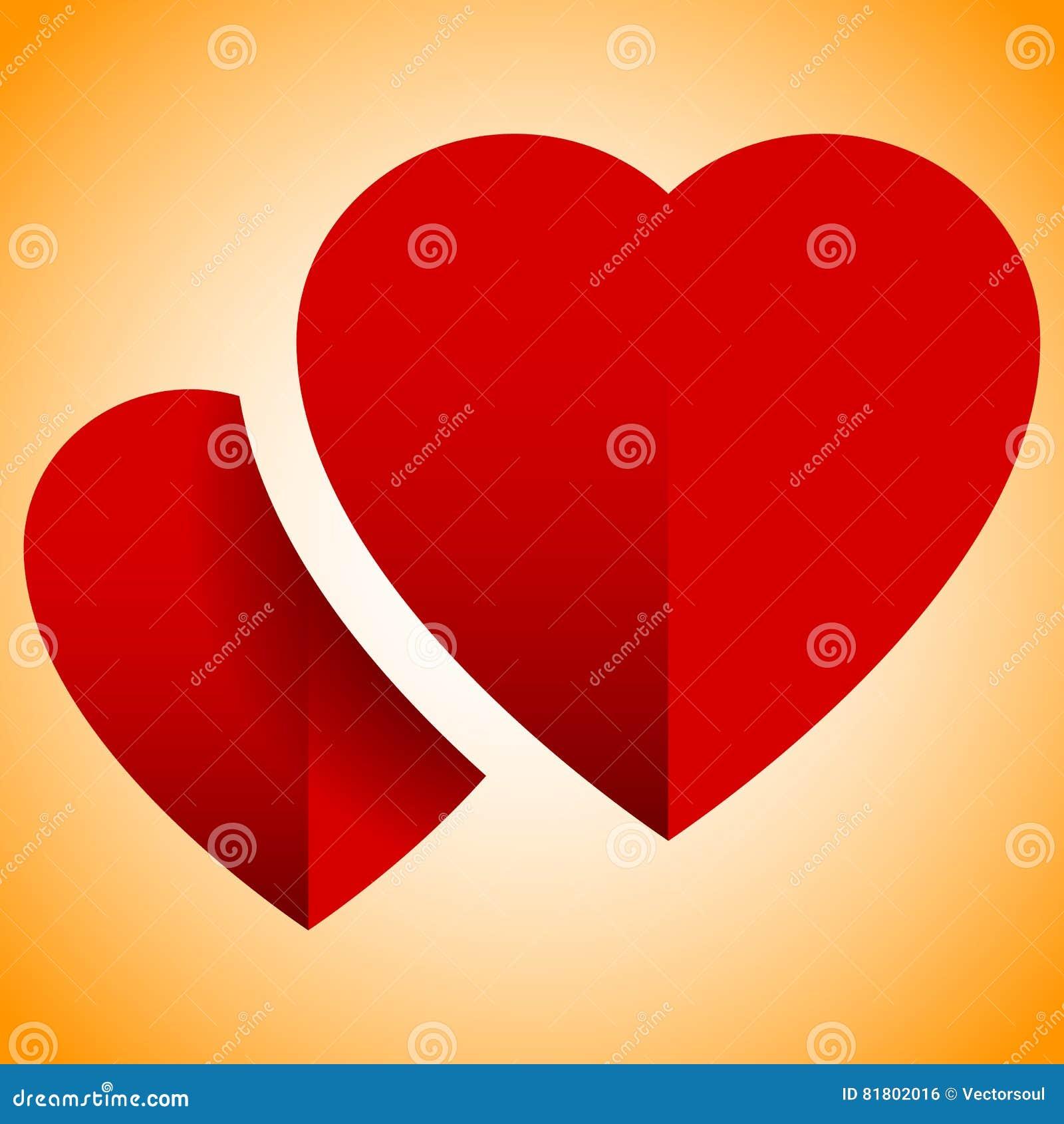 Пары сердец с тенью - абстрактным элементом для влюбленности, ro дизайна