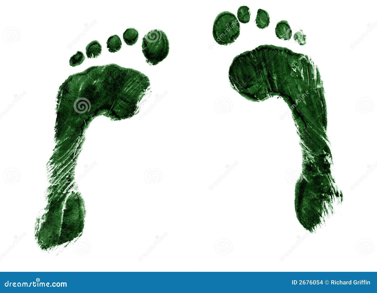 пары следов ноги зеленые