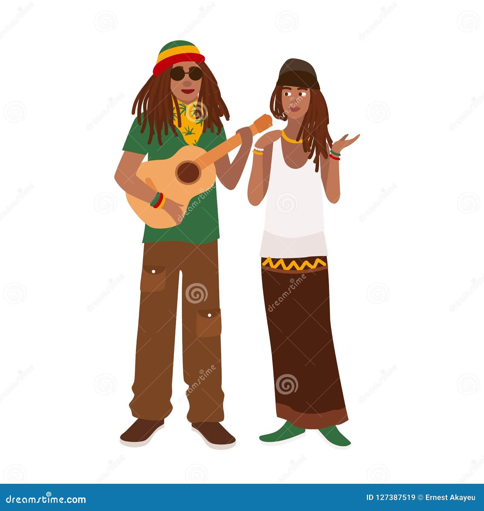 Пары Rastafari Укомплектуйте личным составом нося rastacap и гитара и женщина играть стоя совместно Парень и подружка
