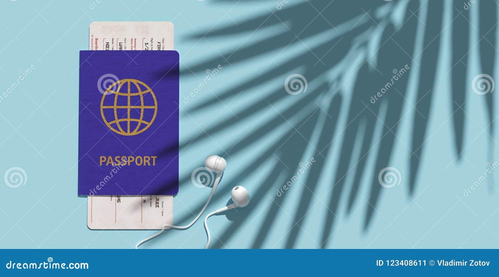 Пасспорт, посадочный талон, билет самолета на взгляде столешницы Тень ладони Концепция минимализма путешествовать 3d