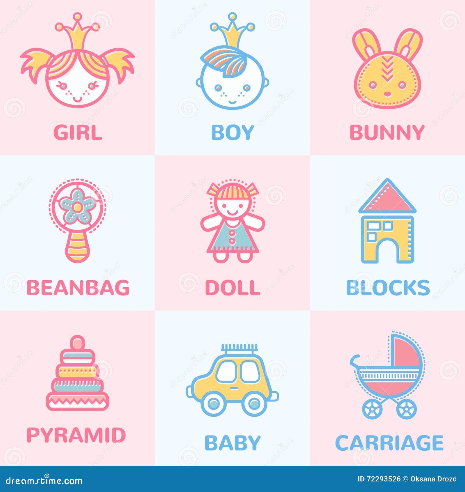 Download Пастельные значки младенца иллюстрация вектора. иллюстрации насчитывающей иллюстрация - 72293526