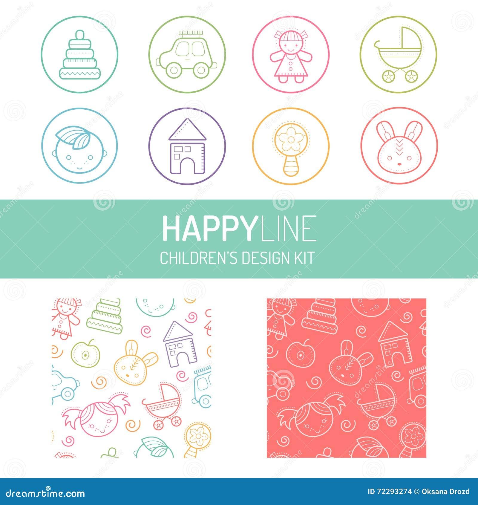 Download Пастельные значок младенца и комплект картины Иллюстрация вектора - иллюстрации насчитывающей конструкция, браслетов: 72293274