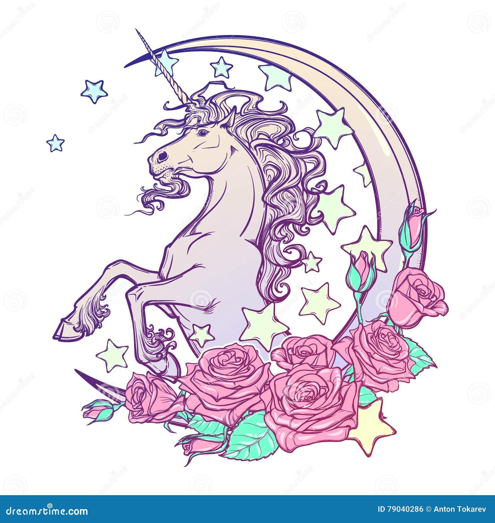 Пастельный единорог goth с серповидной поздравительной открыткой звезд и роз