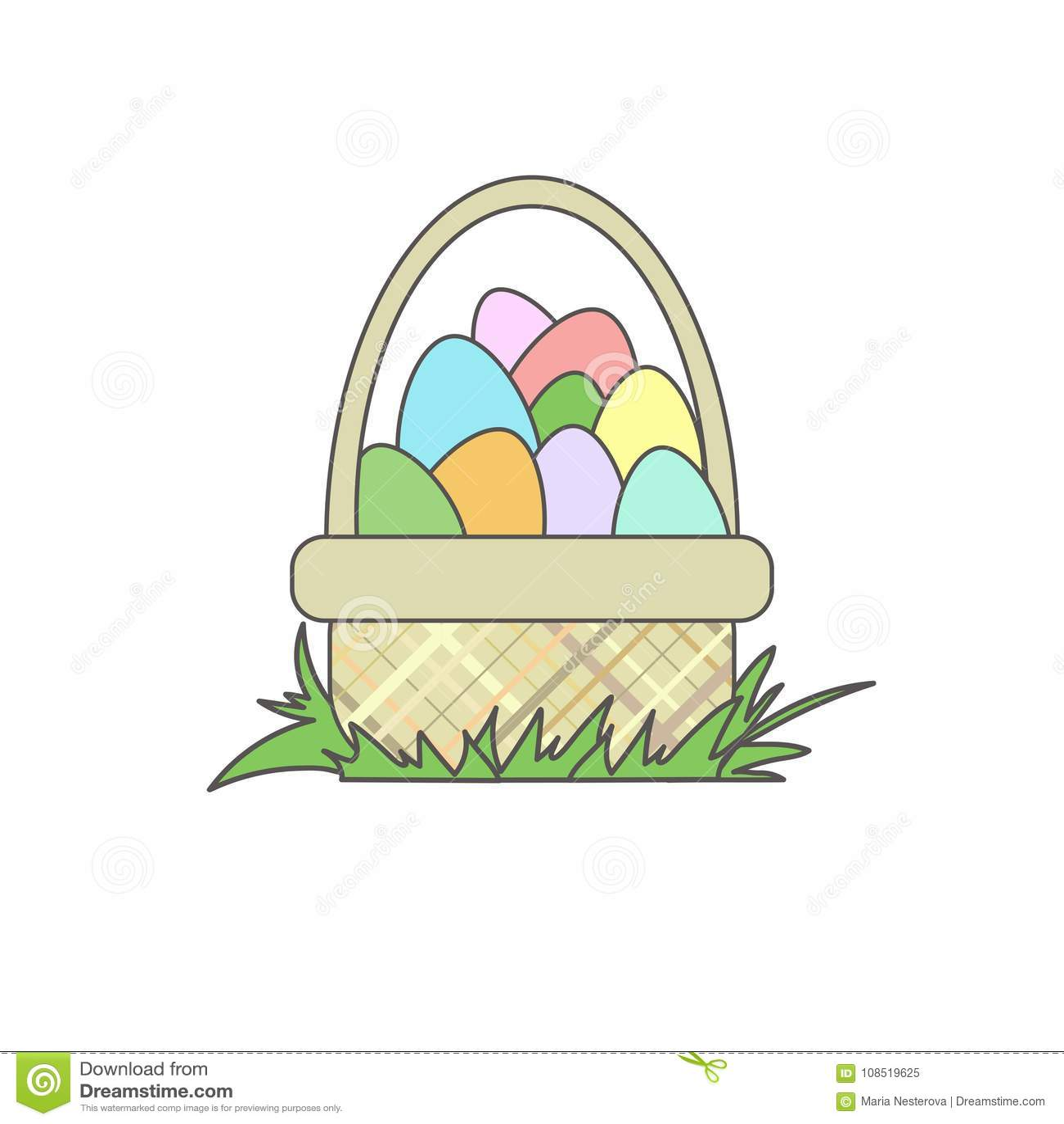 Пасхальные яйца других цветов в корзине на траве шарж