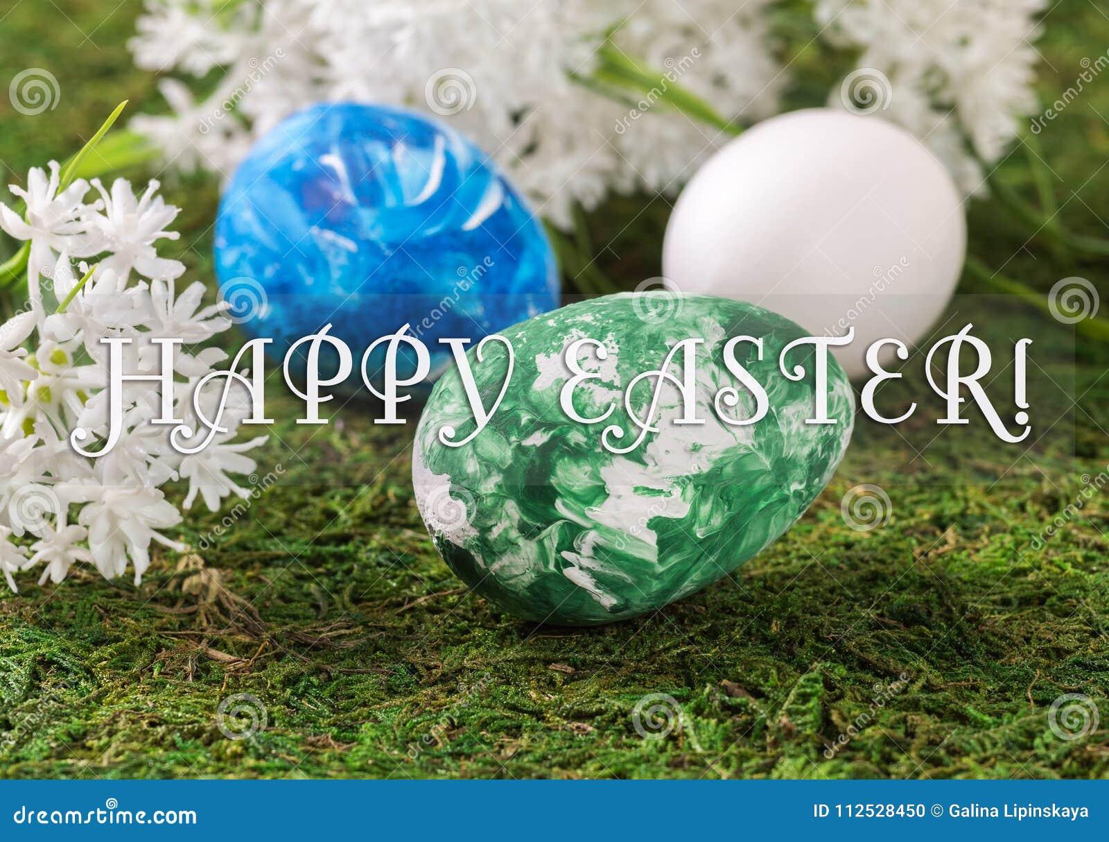 Пасхальные яйца и белые цветки на предпосылке травы с поздравительным tex