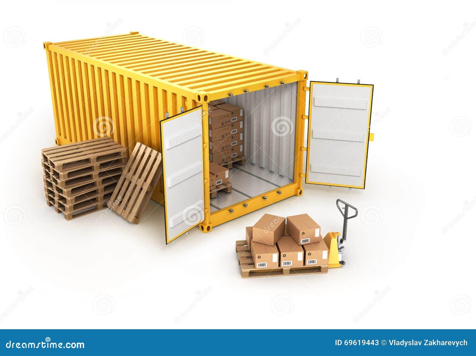 Паллеты открытого контейнера с коробками