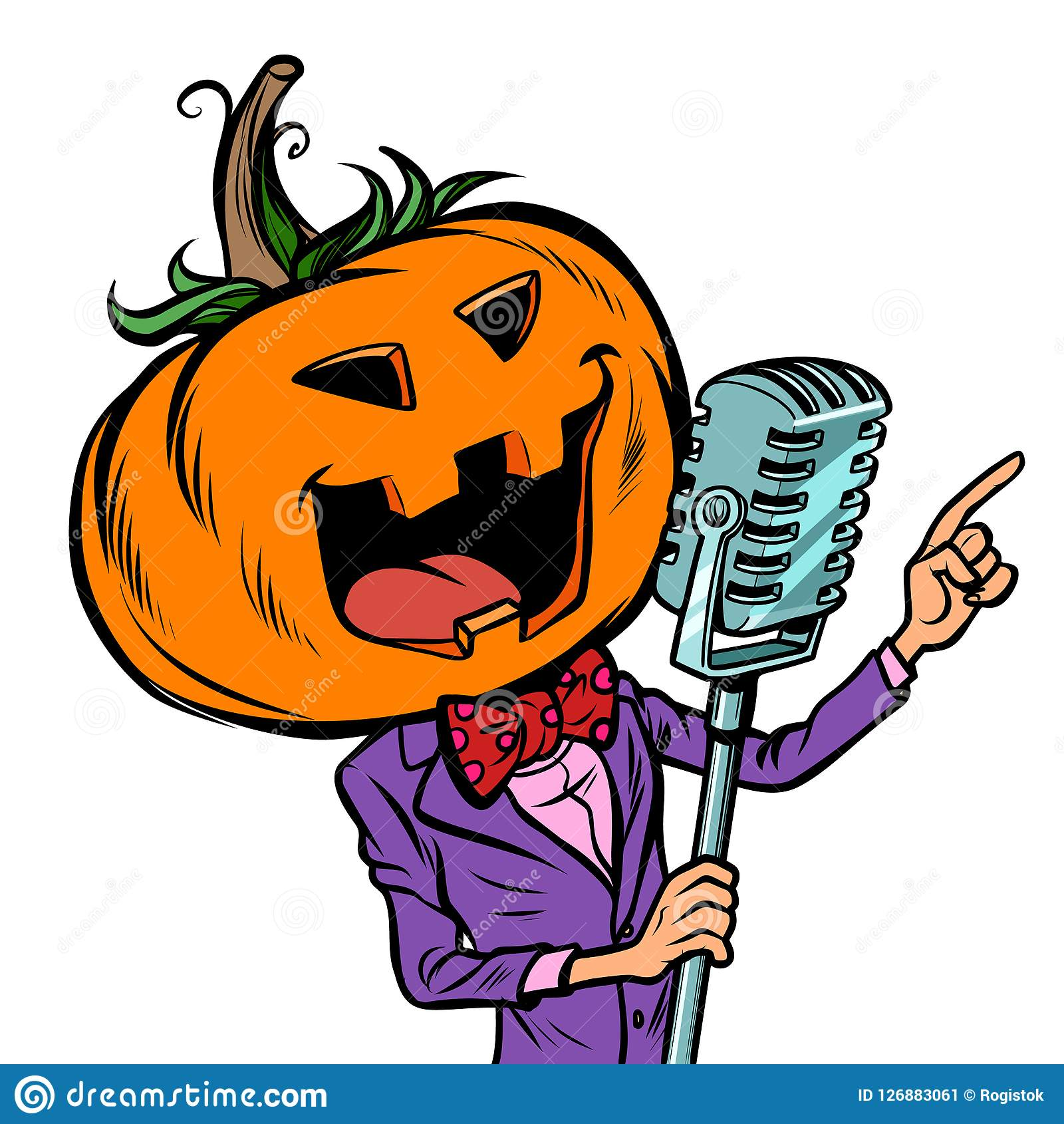 Певица характера тыквы хеллоуина Изолят на белой предпосылке
